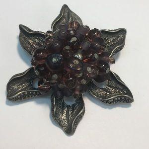 Vintage purple beaded silver flower brooch pin